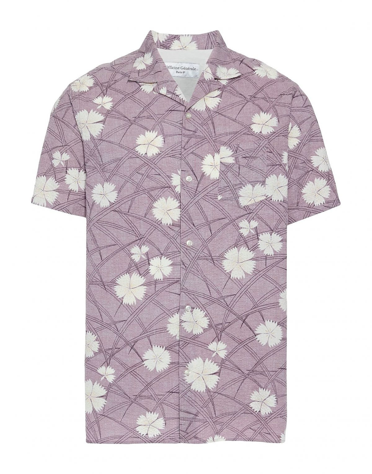 Officine Generale Lilac Seersucker Shirt