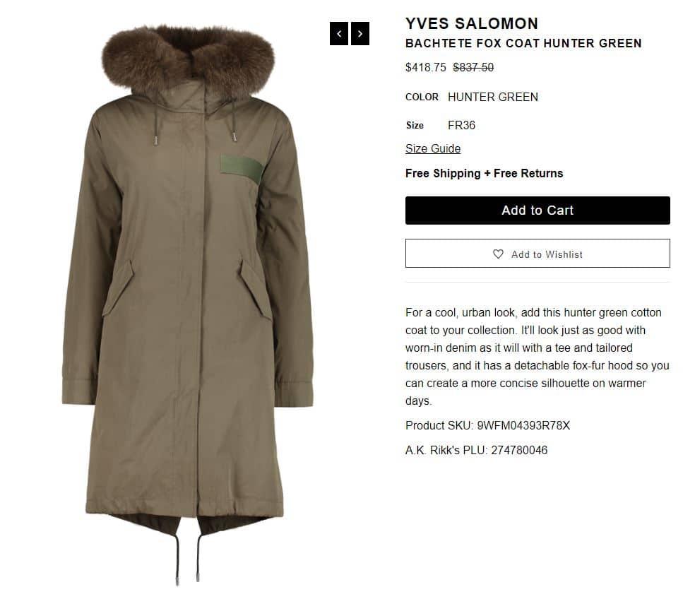 Yves Salomon Bachtete Fox Coat