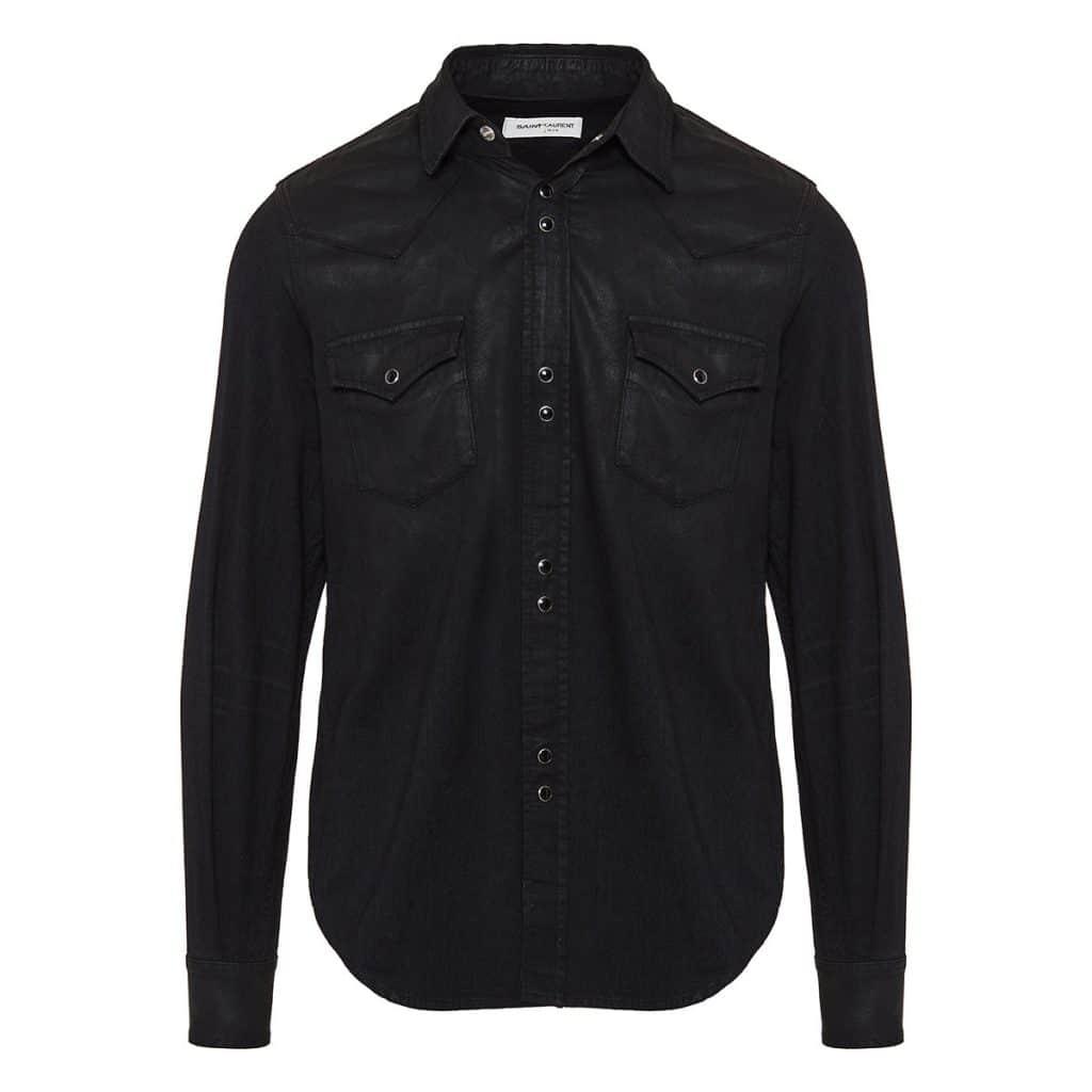 Saint Laurent Wax Coated Western Snap Shirt