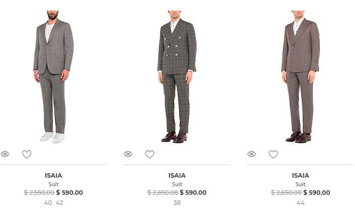 yoox isaia suits sale