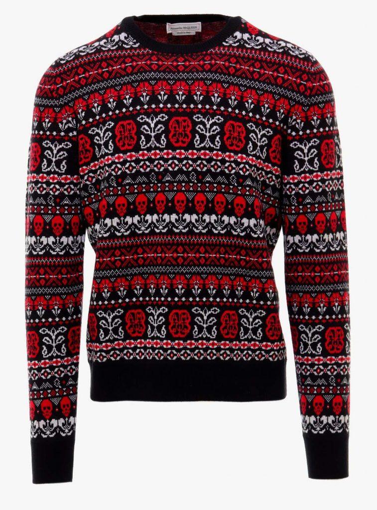 Alexander Mcqueen Skull Fair Isle Sweater Red