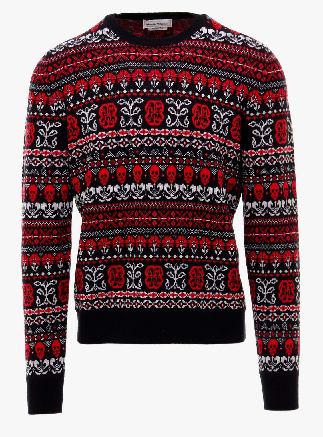 Alexander Mcqueen Skull Fair Isle Sweater Red