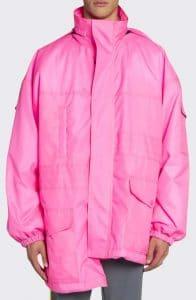 Balenciaga Asymmetric Hem Pink Puffer Coat