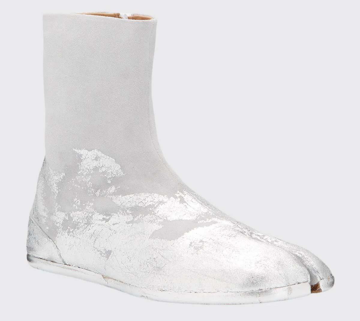 Maison Margiela Suede Tank Tabi Boots Metallic Paint