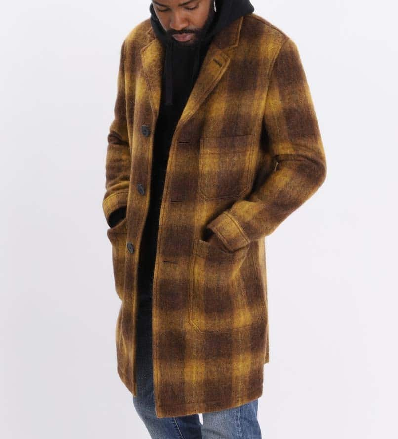 AMI Camel Plaid Pocket Coat